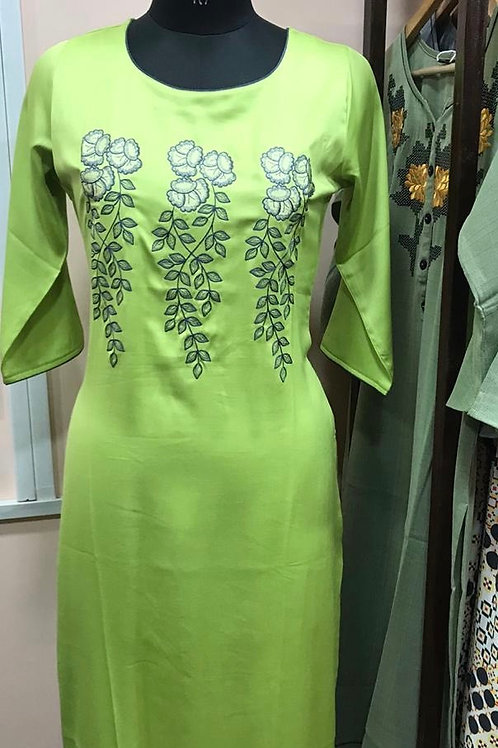 Thread embroidery kurta
