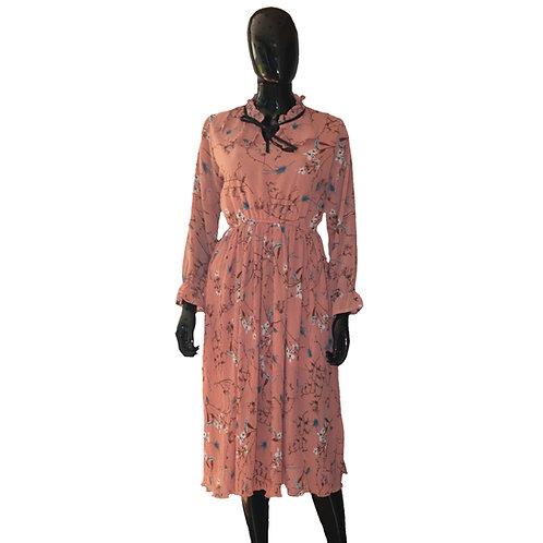 Pink Ruffled Flare Pattern Dress