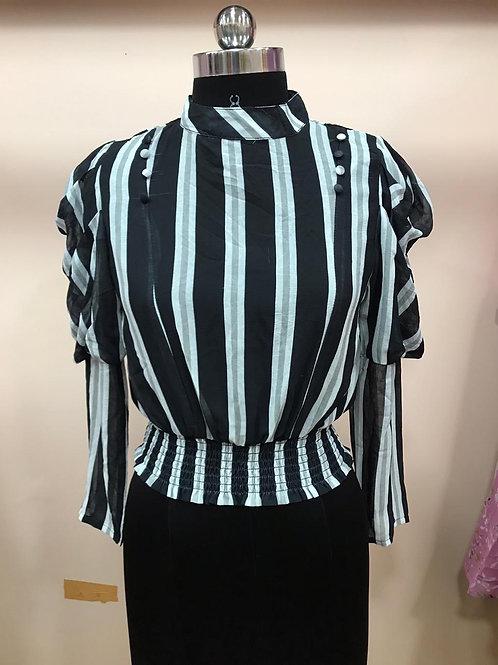 Black collar pattern top