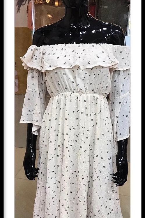 Beige Color Off Shoulder Dress