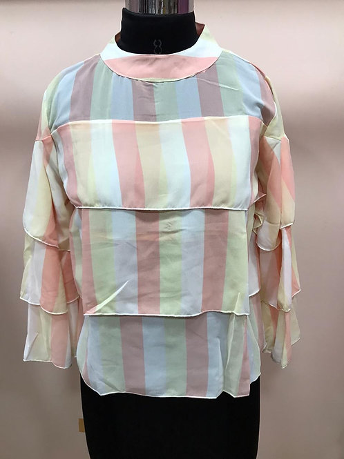 Tricolor collar pattern top