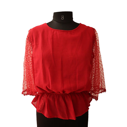 Solid Red Net Embroidered Sleeve Top
