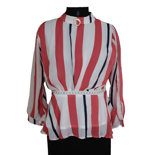 Multicolour belted striped top