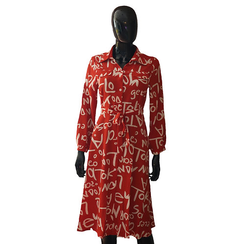 Orange Drawstring Waist Flared Dress