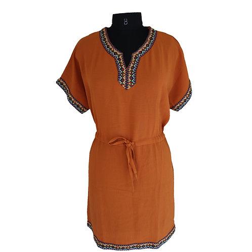 Solid orange v-neck belted lace work dress