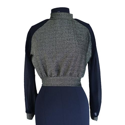 High neck pattern full sleeve crop top