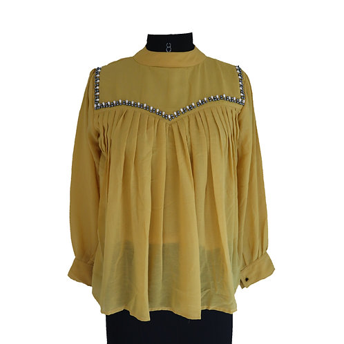Gathered embroidered full sleeve top