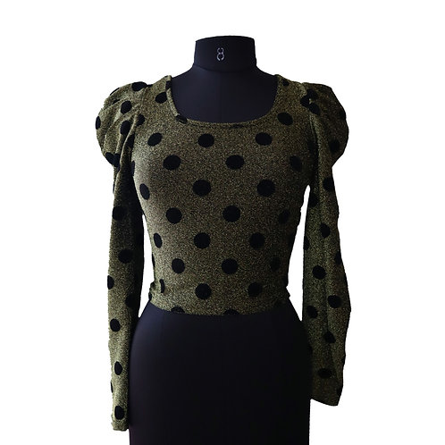 Puff sleeve round neck polka top