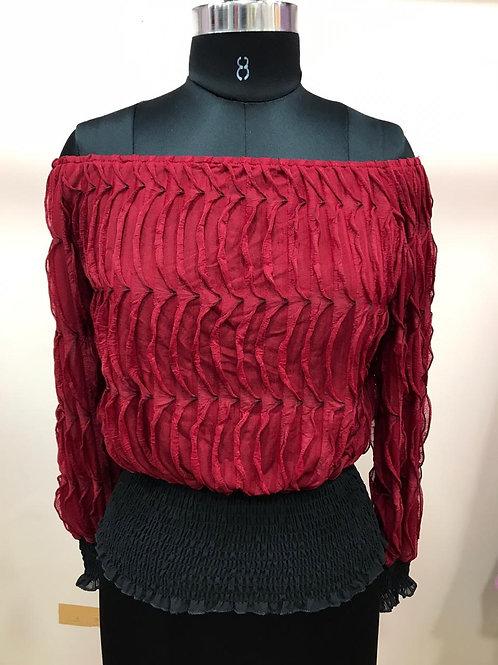 Off shoulder rubber pattern top