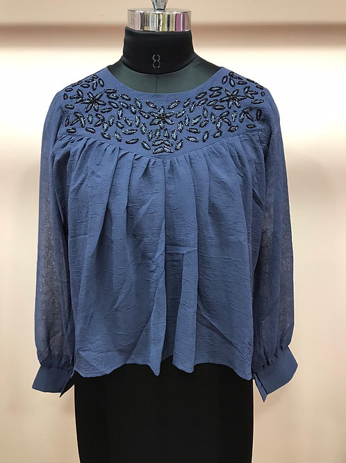 Blue embroidery party wear top