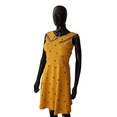 Mustard Embroidered Knee Length Dress