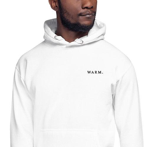"""Unisex White Hoodie - """"Warm."""""""