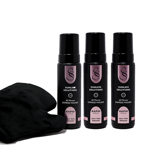 3 x Rapid Self Tan Mousse with FREE luxury Velour Mitt