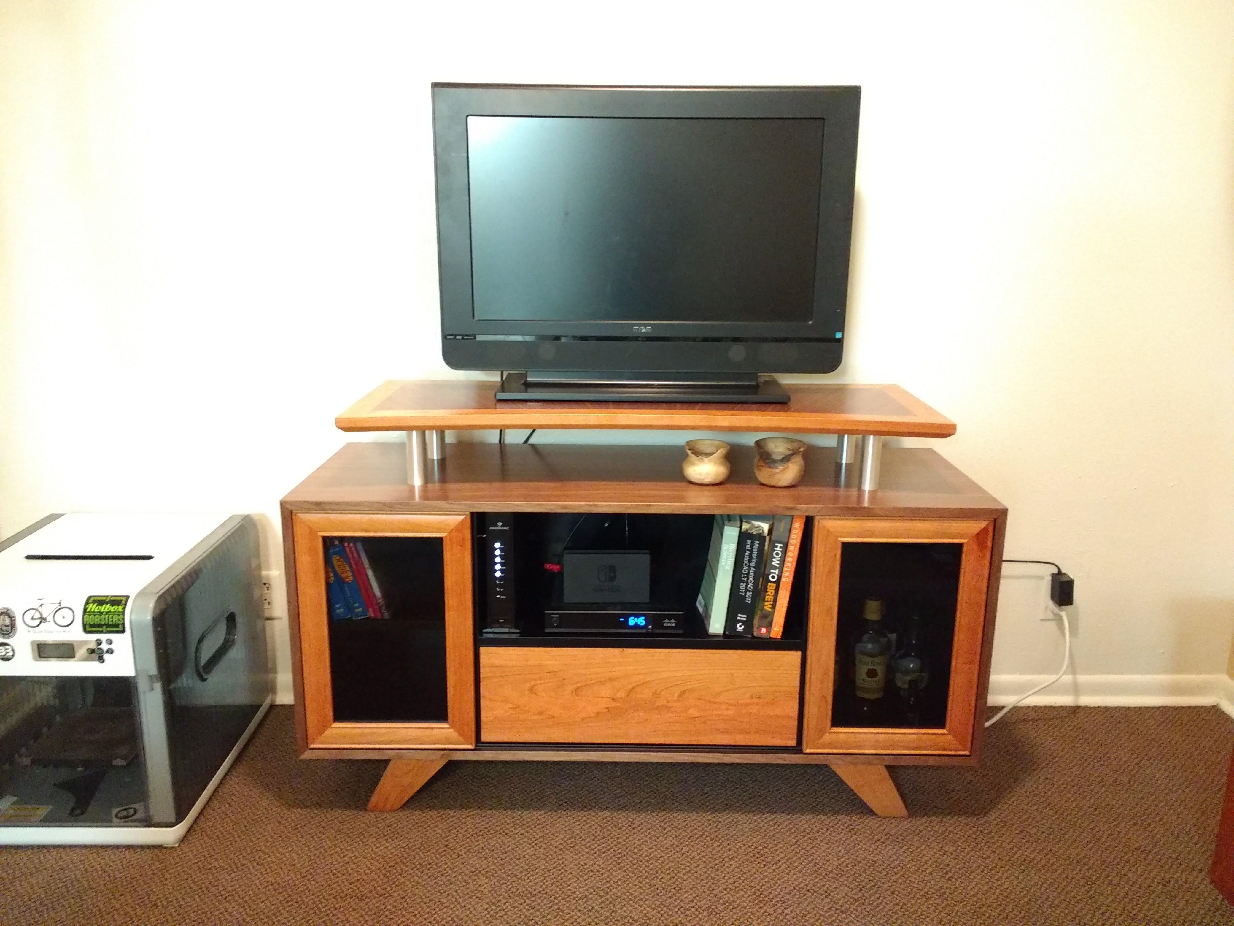 Cherry and Walnut Entertainment Center in Use