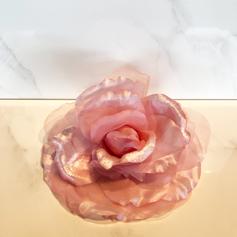 Rose clip in pink silk