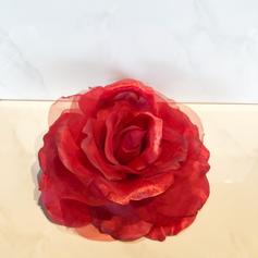 Rose clip in red silk