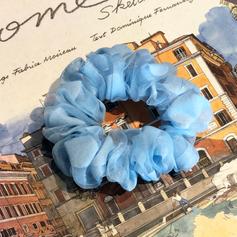Polka dot sheer scrunchies in blue