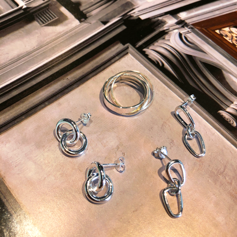 Silver ring and earrings