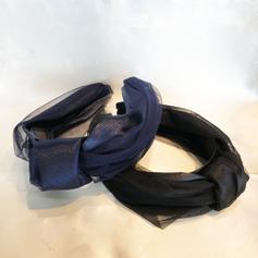 Satin knot headband with tulle
