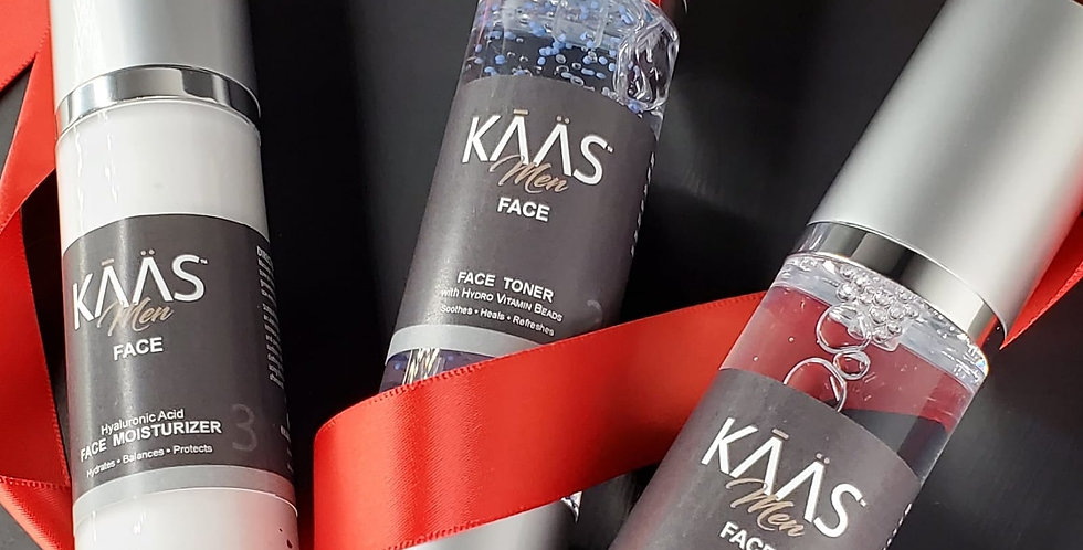 Gift Set KAAS Face: 3 Step Skincare System Infused with Bag