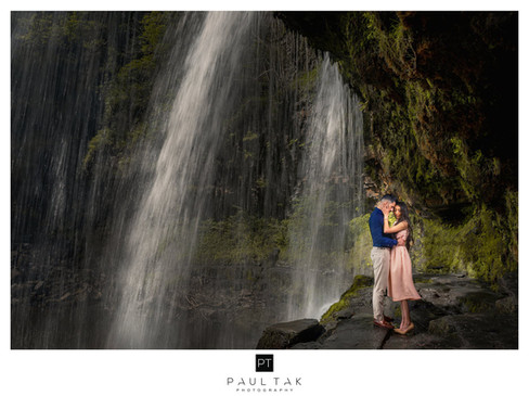behind the falls Asian wedding Photograp