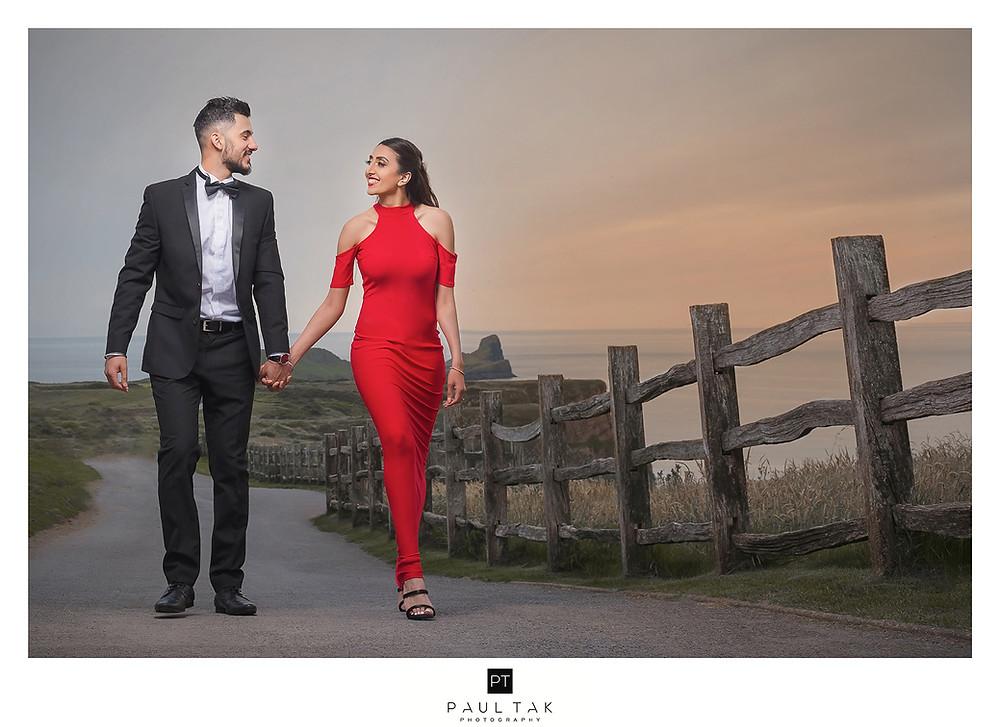 Wales sunset shoot Asian wedding photographer