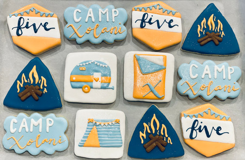 Glamping 5th Birthday Cookies