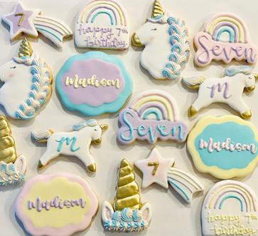 Unicorn 7th Birthday Cookies