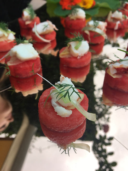 Watermelon lobster ginger canapes.jpg