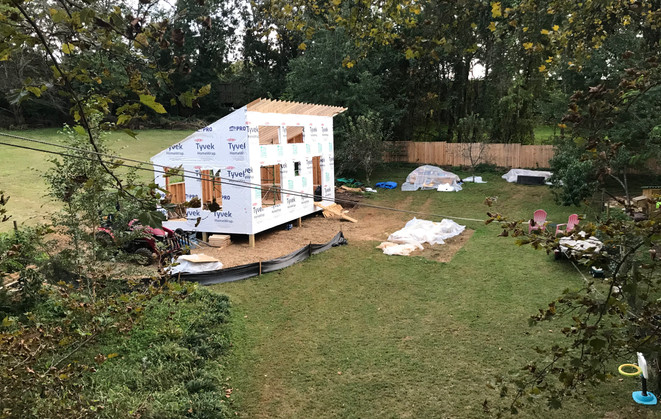 Solar Cottage roof being built