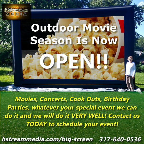 outdoor movie screen rental sound system projector indianapolis