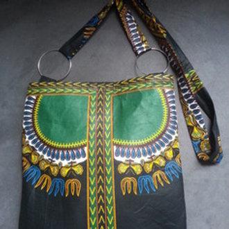 Sac à bandoulière fait main, avec tissu java africain
