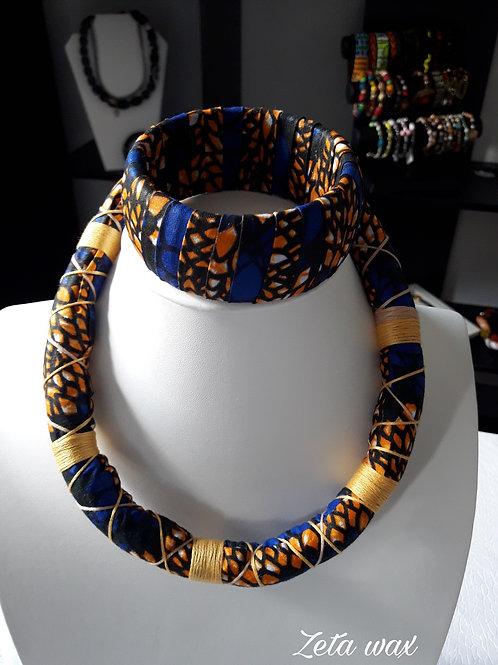 Parure en wax, collier mi-long avec bracelet en tissu impmrimé