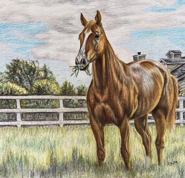 Horse in Field Commission