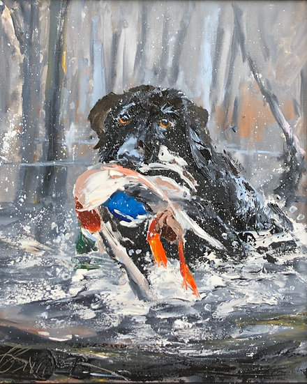 Black Lab Retrieving | Bob Snider | Oil on Canvas