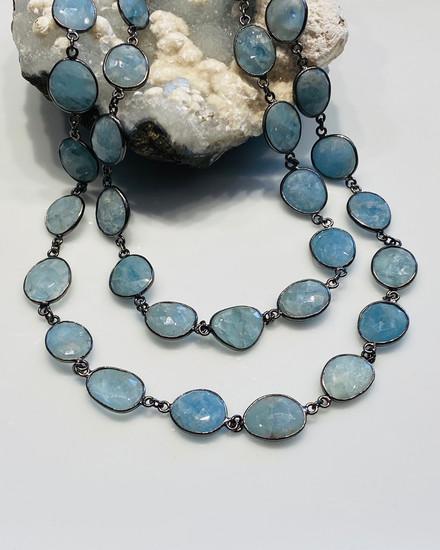 Blue Aquamarine Necklace