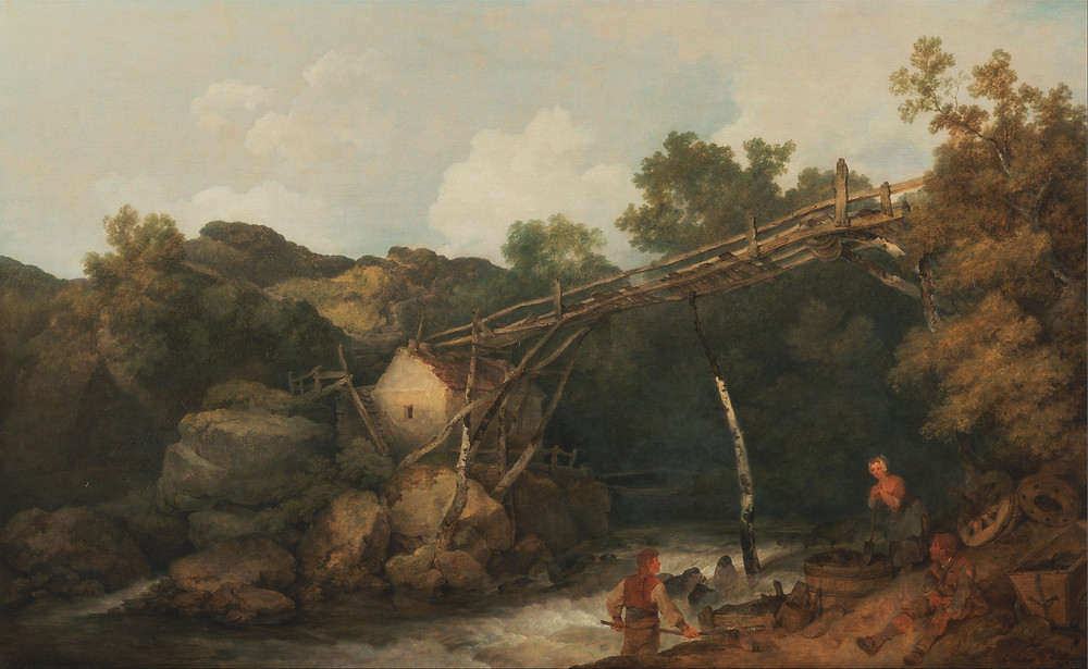 A view near Matlock, Derbyshire with Figures Working beneath a Wooden Conveyor, Phillipe-Jacques de Loutherberg (1785).