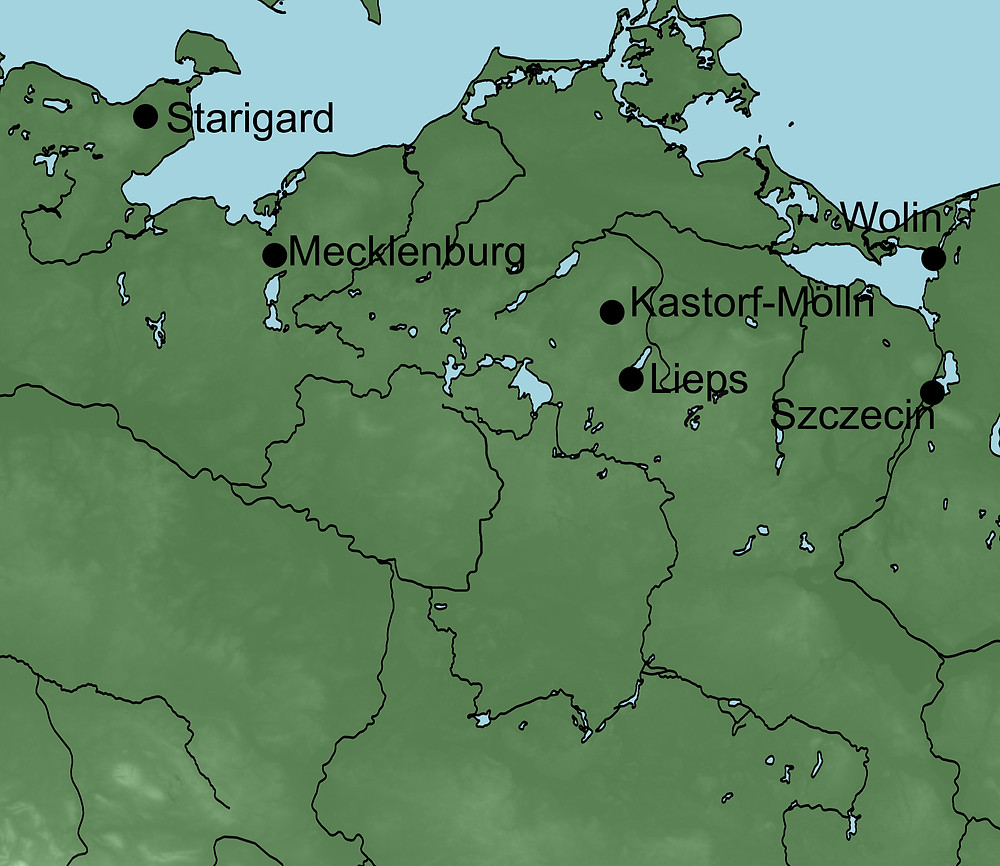 A map of modern north east Germany and sites mentioned in the text.