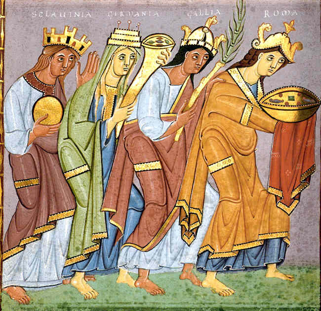 Four women approach the Emperor Otto III, representing different provinces of his empire (note 'SCLAUINIA' or Sclavinia on the left, representing Otto's Slavic lands). Munich, Bayerische Staatsbibliothek, Clm. 4453