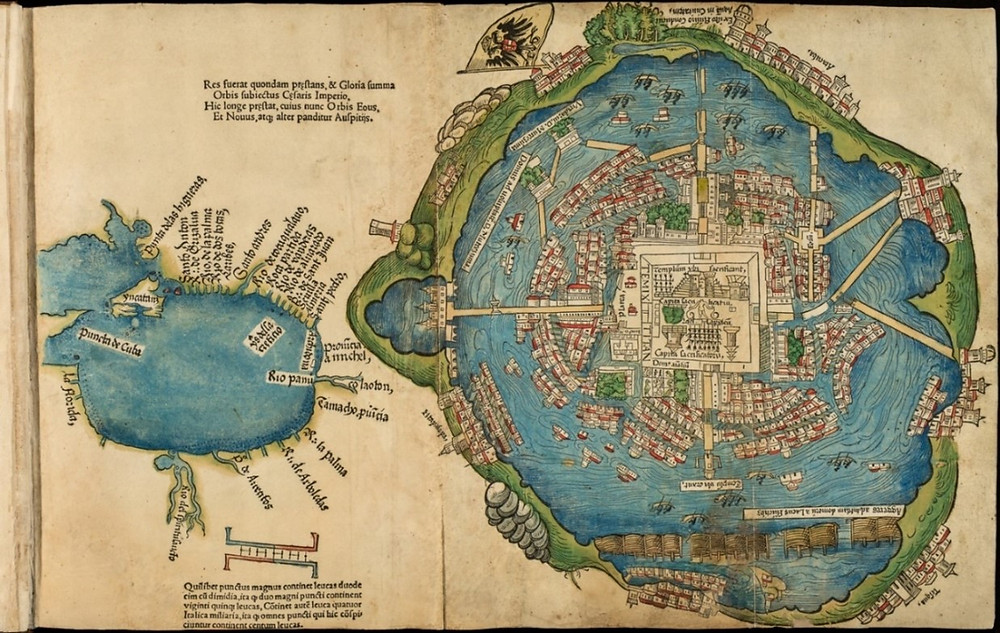 Map of Tenochtitlan and the Gulf of Mexico' from the Second Letter of Hernán Cortés, (Nuremberg, 1524).