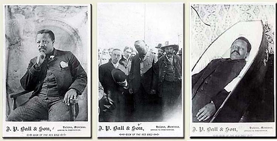 """Figure 1: J.P Ball & Son, Portrait of William Biggerstaff seated in a chair with a hand on his face wearing a flower in his lapel; Photograph of the Execution of William Biggerstaff, hanged for the murder of """"Dick"""" Johnson, flanked by Rev. Victor Day and Henry Jurgens, sheriff, 1896; Photograph of William Biggerstaff, former slave, born in Lexington, KY in 1854 (1896). Image from Duke University. See below for higher resolution images."""