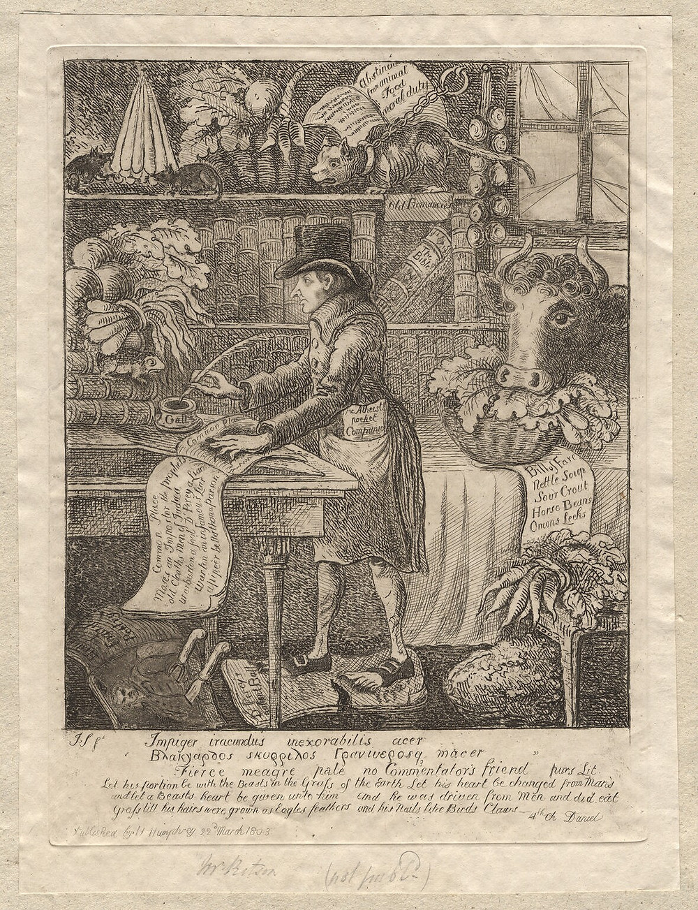 'Impiger iracundus inexorabilis acer', an etching mocking Joseph Ritson for his vegetarianism and compassion for animals, by James Sayers, published by Hannah Humphrey, 22nd March 1803. Note that he wears sandles, a widely-recognised stereotype of the vegetarian even then, while a cow placidly eats leaves through his window and a cat is tethered to prevent her from devouring a nearby mouse.
