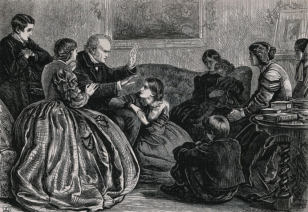 A family group of women and children sitting listening to a man telling a story. Wood engraving by Dalziel after J.E. Millais.