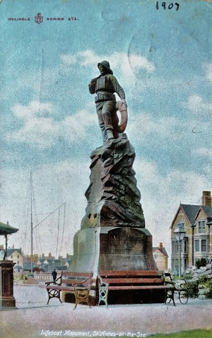 St Anne's Lifeboat Monument. Postcard from the Reliable series, 1907. From Andrew's collection.