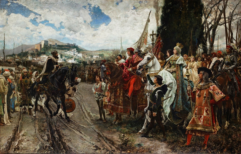 F. Pradilla, The Capitulation of Granada, 1882. The painting shows Muhammad XII of Granada surrendering to Ferdinand II of Aragon and Isabella I of Castille.