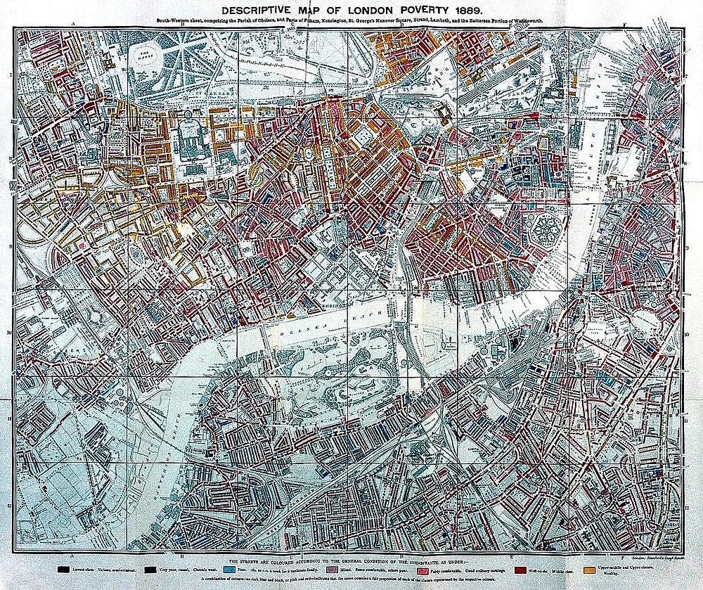 Descriptive map of London poverty, 1889 (south- western sheet)