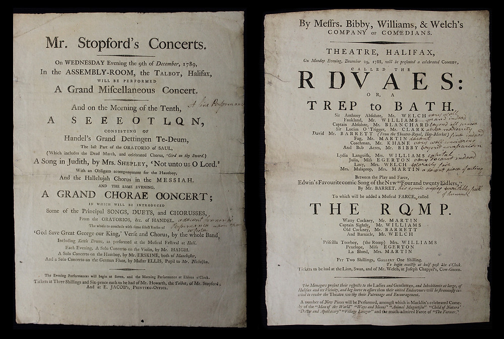 "Messrs Bibby, Williams, & Welch's Company of Comedians... On Monday Evening, December 29, 1788, will be presented a celebrated Comedy, called The Rivals: or, a Trip to Bath... Between Play and Farce, Edwin's Favourite comic Song of the New ""Four and twentry fidlers"", by Mr Barret. To which will be added a musical Frace, called The Romp. Special Collections - Theatre Playbills, ©Chapter of York: Reproduced with permission."