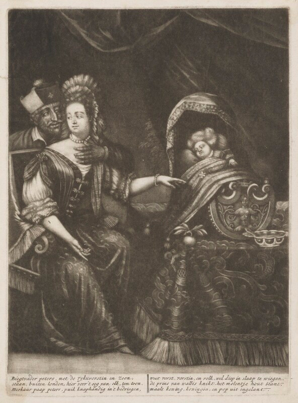 """The Infamous Dutch print, distributed in London in 1688 to stoke rumours of the newborn Prince of Wales's legitimacy. Anonymous (attributed to Pieter Schenk). """"Mary of Modena with the Prince of Wales and Father Edward Petre."""" Mezzotint on paper (250 mm x 182 mm). Amsterdam, 1688. Source: National Portrait Gallery, London"""