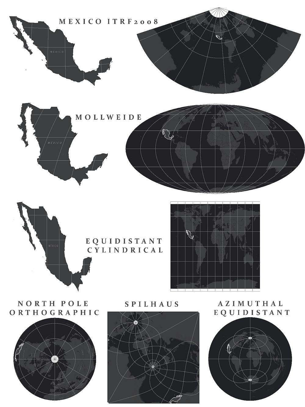 Figure 3: A series of different projections, with Mexico highlighted to demonstrate distortions that occur. From top to bottom, then left to right: Mexico ITRF2008, Mollweide, Equidistant Cylindrical, North Pole Orthographic, Spilhaus, Azimuthal Equidistant.