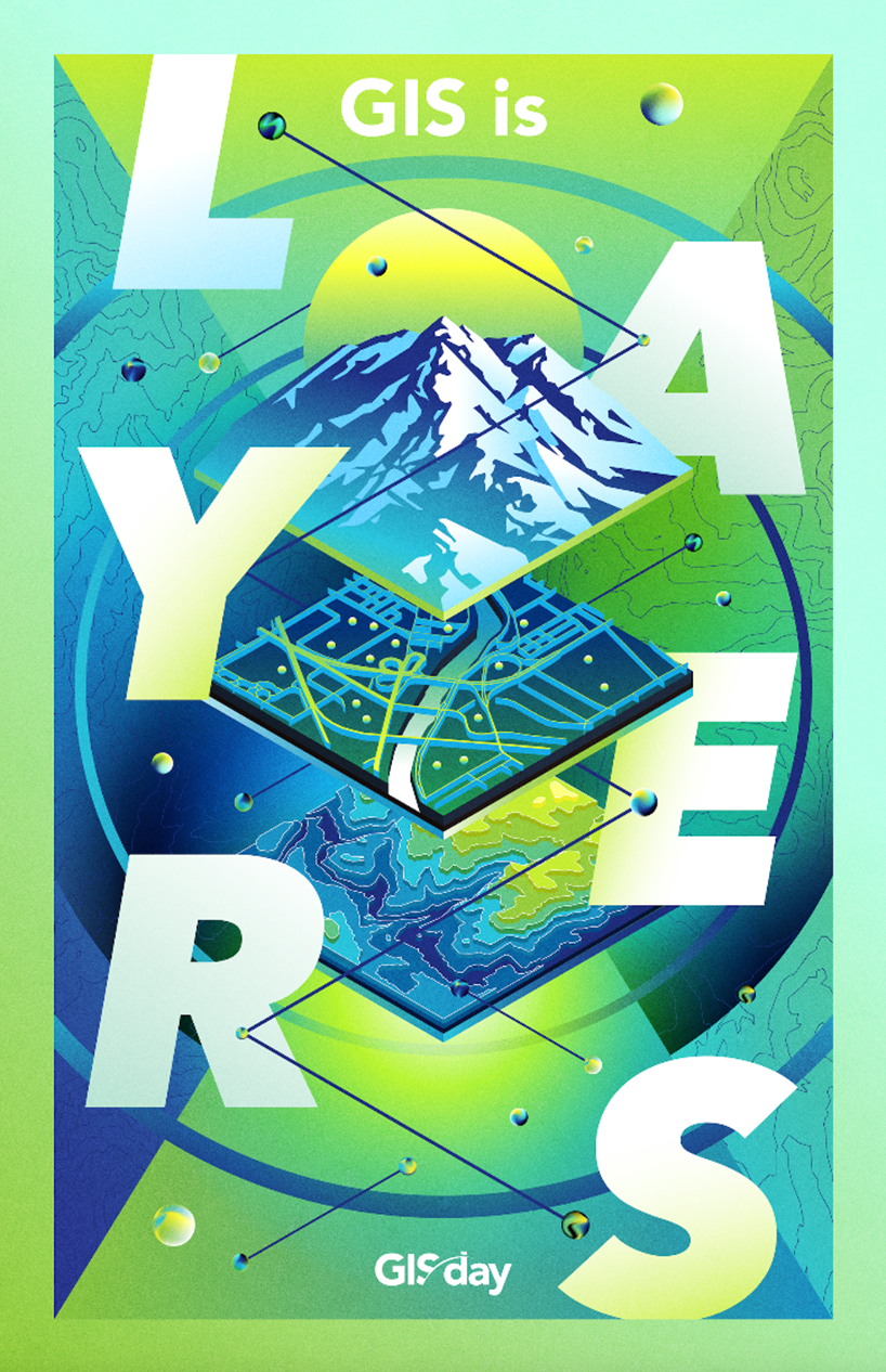 Figure 7: 'GIS is layers' promotional poster for GIS Day 2019 (ESRI, 2019)